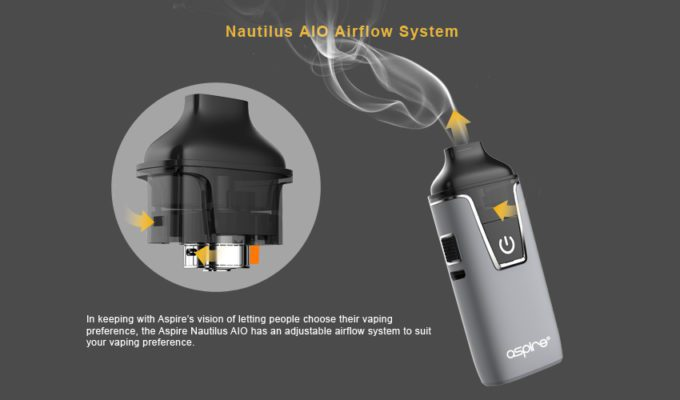 The Aspire Nautilus AIO starter Kit has awesome airflow control.